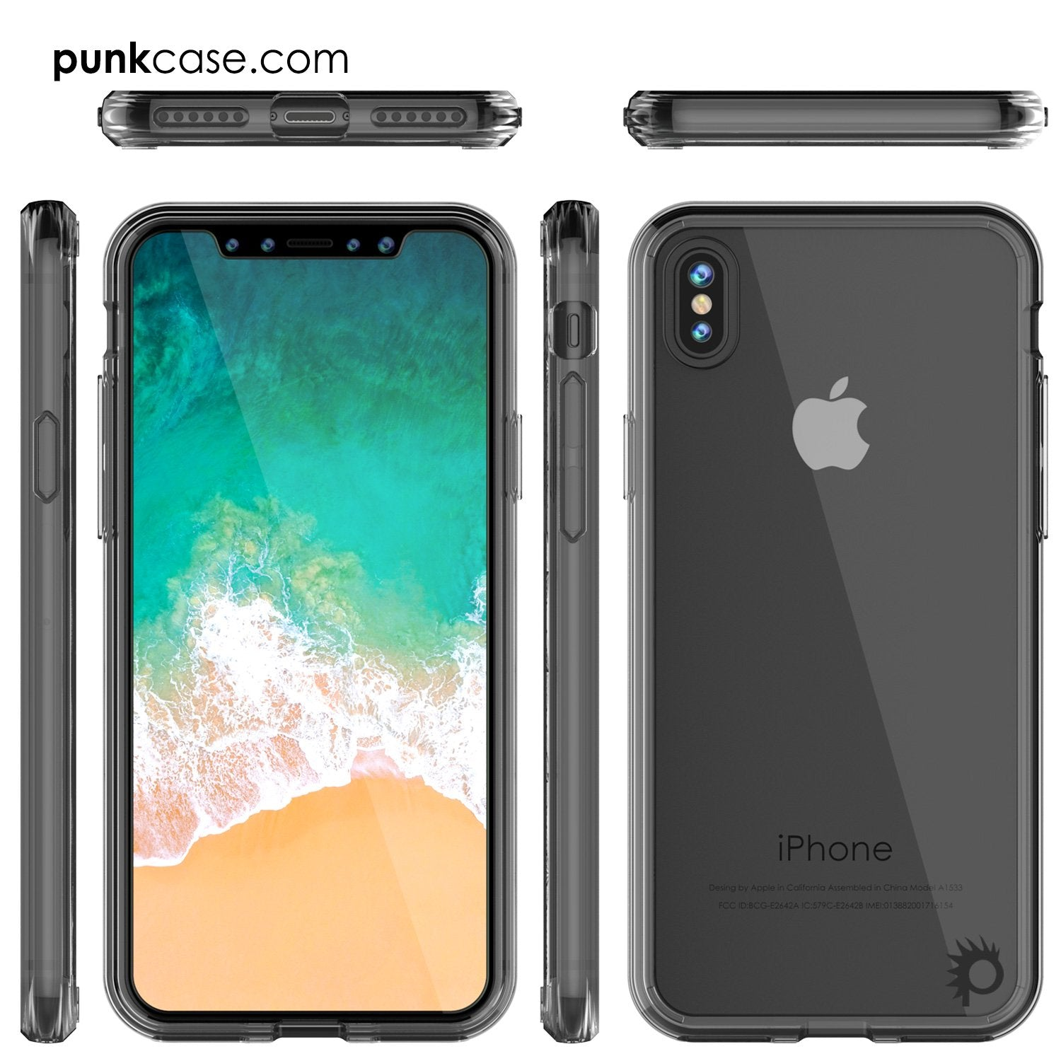 iPhone X Case, PUNKcase [LUCID 2.0 Series] [Slim Fit] Armor Cover W/Integrated Anti-Shock System [Crystal Black] - PunkCase NZ