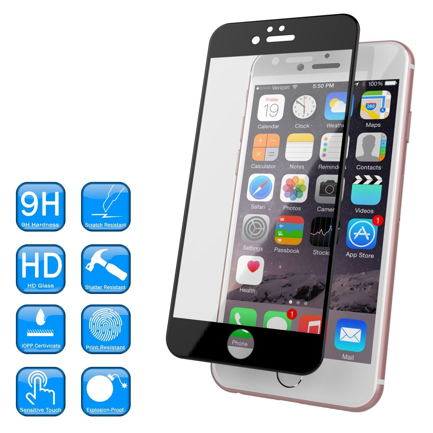 iPhone 6+/6s+ Plus  Black Screen Protector, Punkcase SHIELD Tempered Glass Protector 0.33mm Thick 9H - PunkCase NZ