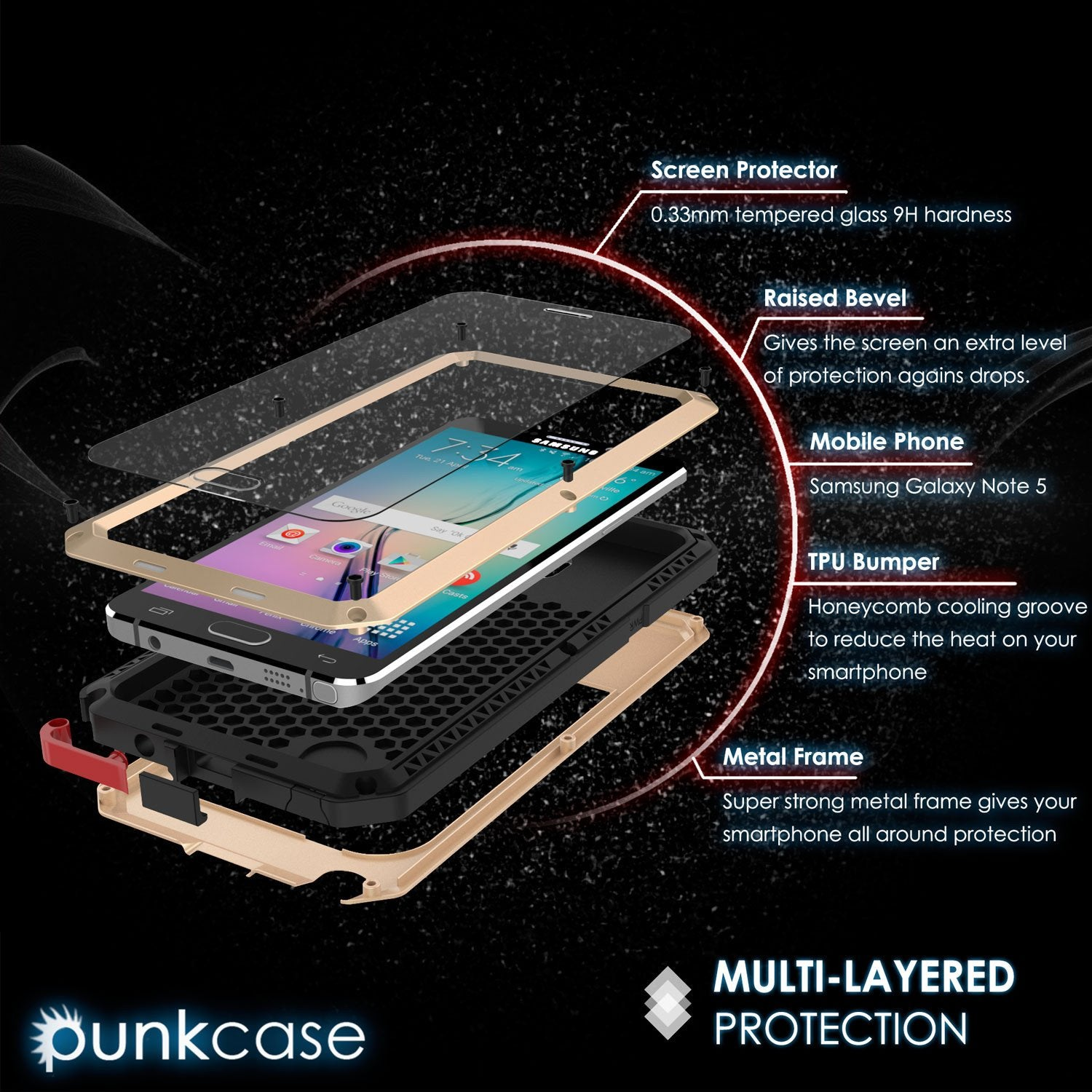 Note 5 Case, Punkcase® METALLIC Series GOLD w/ TEMPERED GLASS | Aluminum Frame - PunkCase NZ