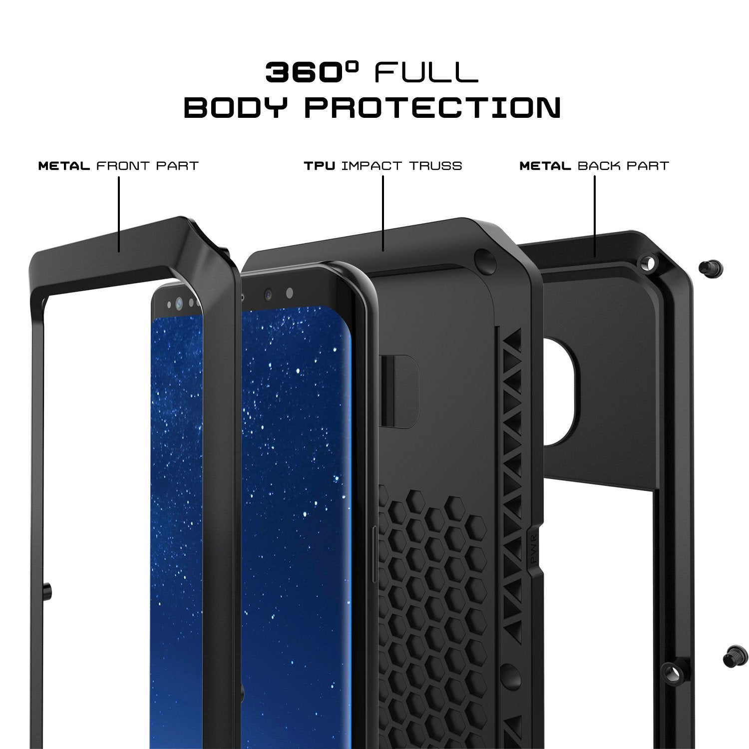 Galaxy S8+ Plus Case, PUNKcase Metallic Black Shockproof  Slim Metal Armor Case - PunkCase NZ