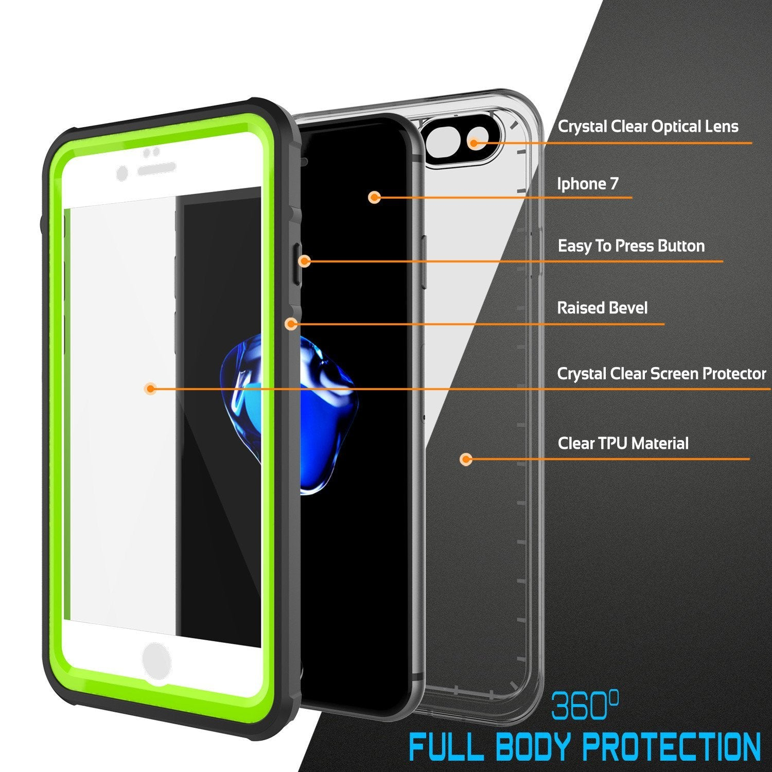 Apple iPhone 8 Waterproof Case, PUNKcase CRYSTAL Light Green  W/ Attached Screen Protector  | Warranty - PunkCase NZ