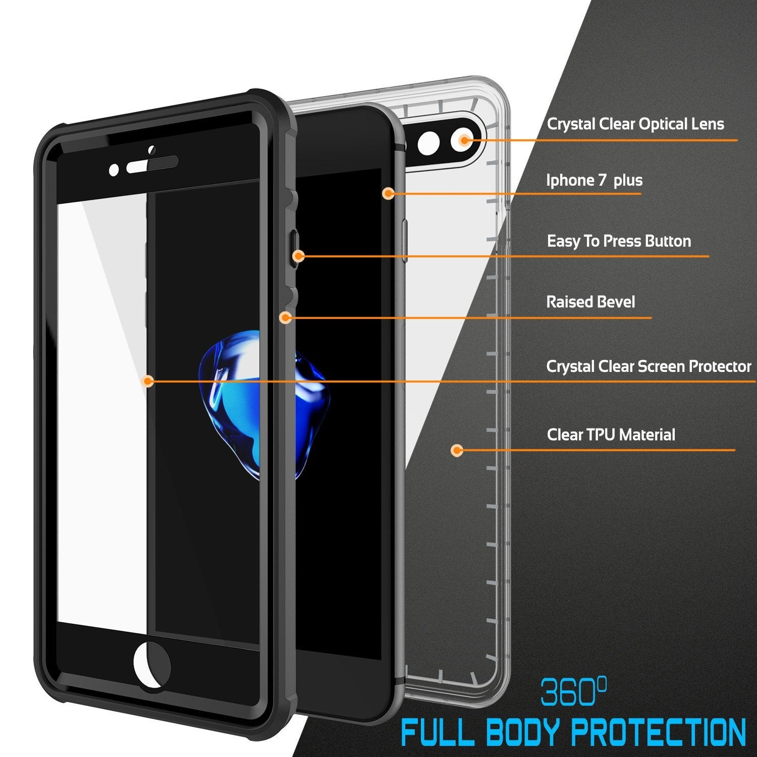 iPhone 8+ Plus Waterproof Case, PUNKcase CRYSTAL Black W/ Attached Screen Protector  | Warranty - PunkCase NZ