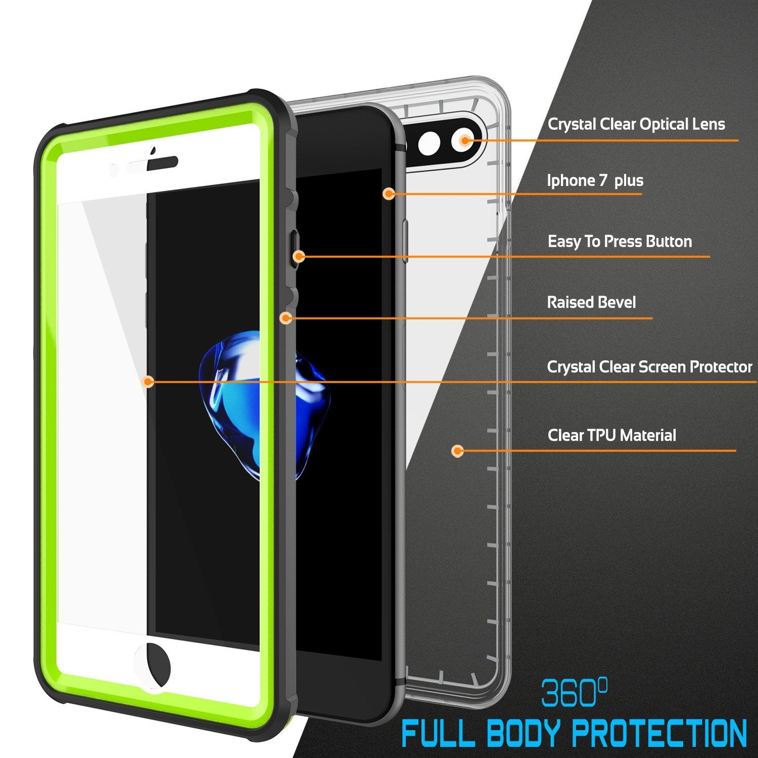 iPhone 8+ Plus Waterproof Case, PUNKcase CRYSTAL Light Green  W/ Attached Screen Protector  | Warranty - PunkCase NZ