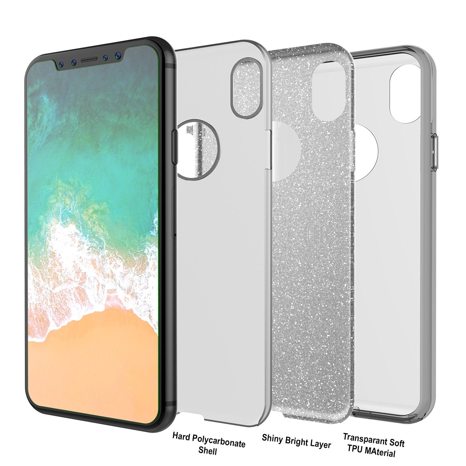 iPhone X Case, Punkcase Galactic 2.0 Series Ultra Slim w/ Tempered Glass Screen Protector | [Silver] - PunkCase NZ