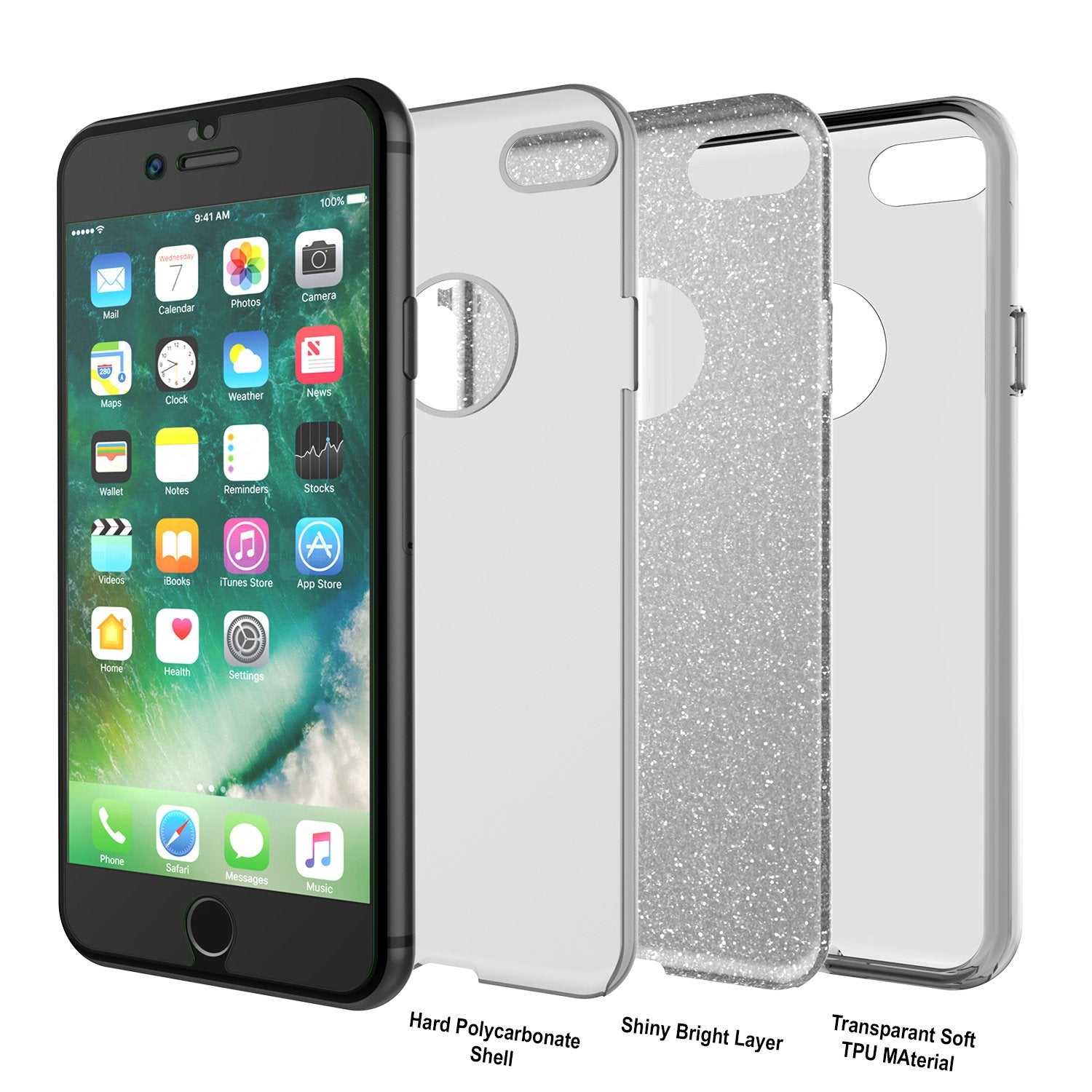 iPhone 8 Case, Punkcase Galactic 2.0 Series Ultra Slim Protective Armor TPU Cover [Silver] - PunkCase NZ