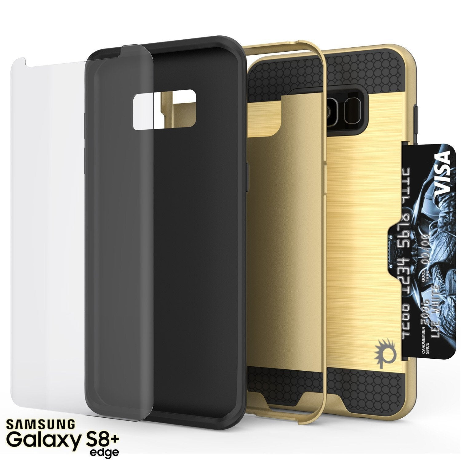 Galaxy S8 Plus Case, PUNKcase [SLOT Series] [Slim Fit] Dual-Layer Armor Cover w/Integrated Anti-Shock System, Credit Card Slot & PunkShield Screen Protector for Samsung Galaxy S8+ [Gold] - PunkCase NZ