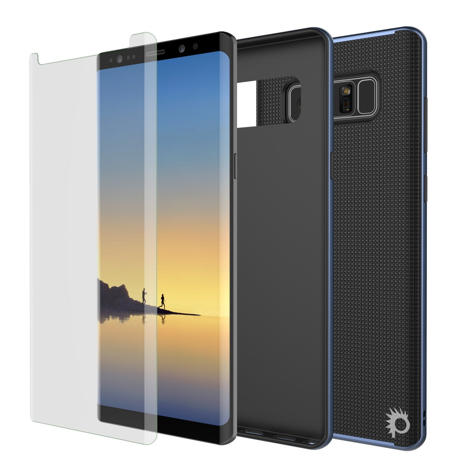 Galaxy Note 8 Case, PunkCase [Stealth Series] Hybrid 3-Piece Shockproof Dual Layer Cover [Non-Slip] [Soft TPU + PC Bumper] with PUNKSHIELD Screen Protector for Samsung Note 8 [Navy Blue] - PunkCase NZ