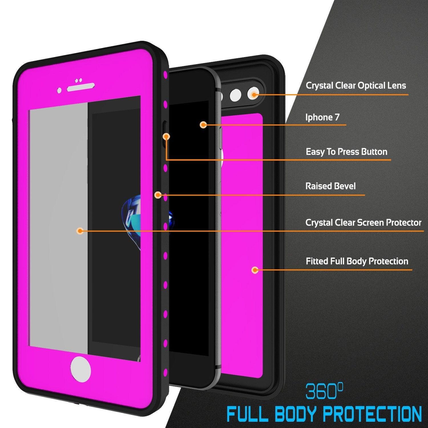 iPhone 8+ Plus Waterproof IP68 Case, Punkcase [Pink] [StudStar Series] [Slim Fit] [Dirtproof] - PunkCase NZ