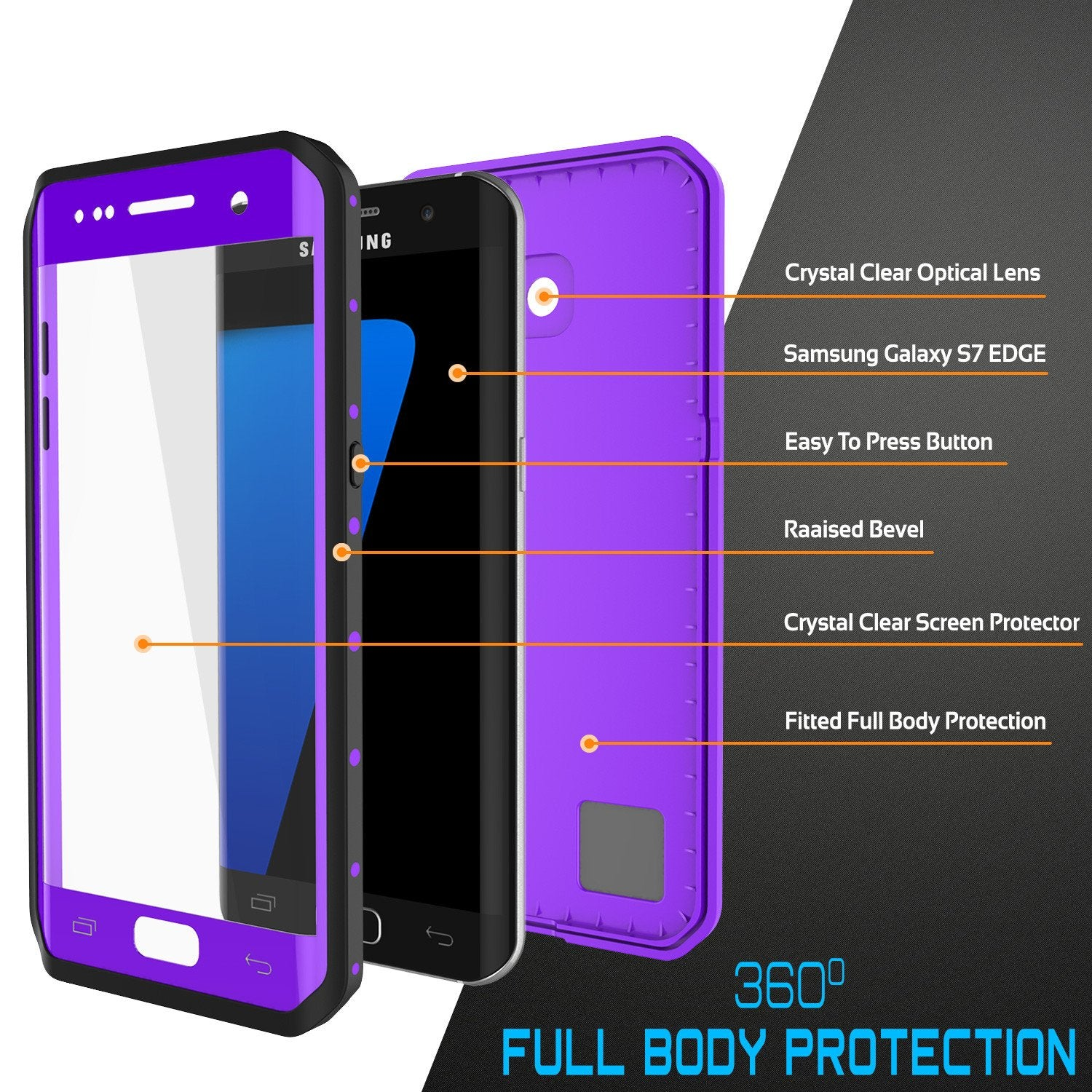 Galaxy S7 EDGE Waterproof Case PunkCase StudStar Purple Thin 6.6ft Underwater IP68 Shock/Snow Proof - PunkCase NZ