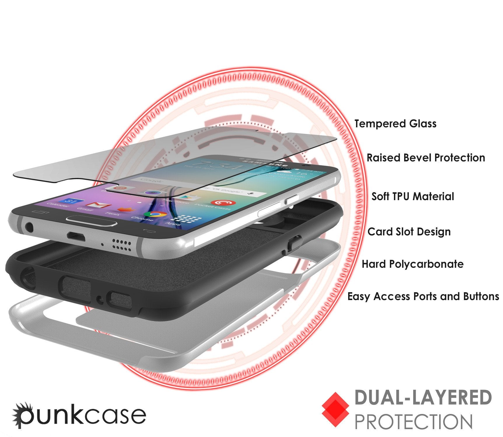 Galaxy s6 Case PunkCase CLUTCH Silver Series Slim Armor Soft Cover Case w/ Tempered Glass - PunkCase NZ