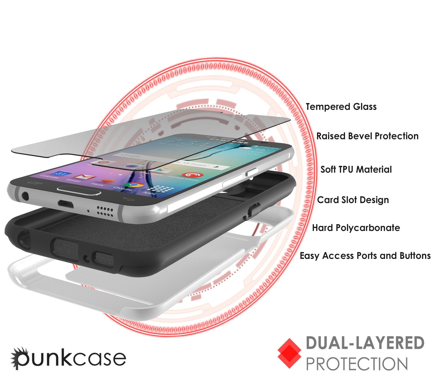 Galaxy S6 EDGE Case PunkCase CLUTCH White Series Slim Armor Soft Cover Case w/ Screen Protector - PunkCase NZ