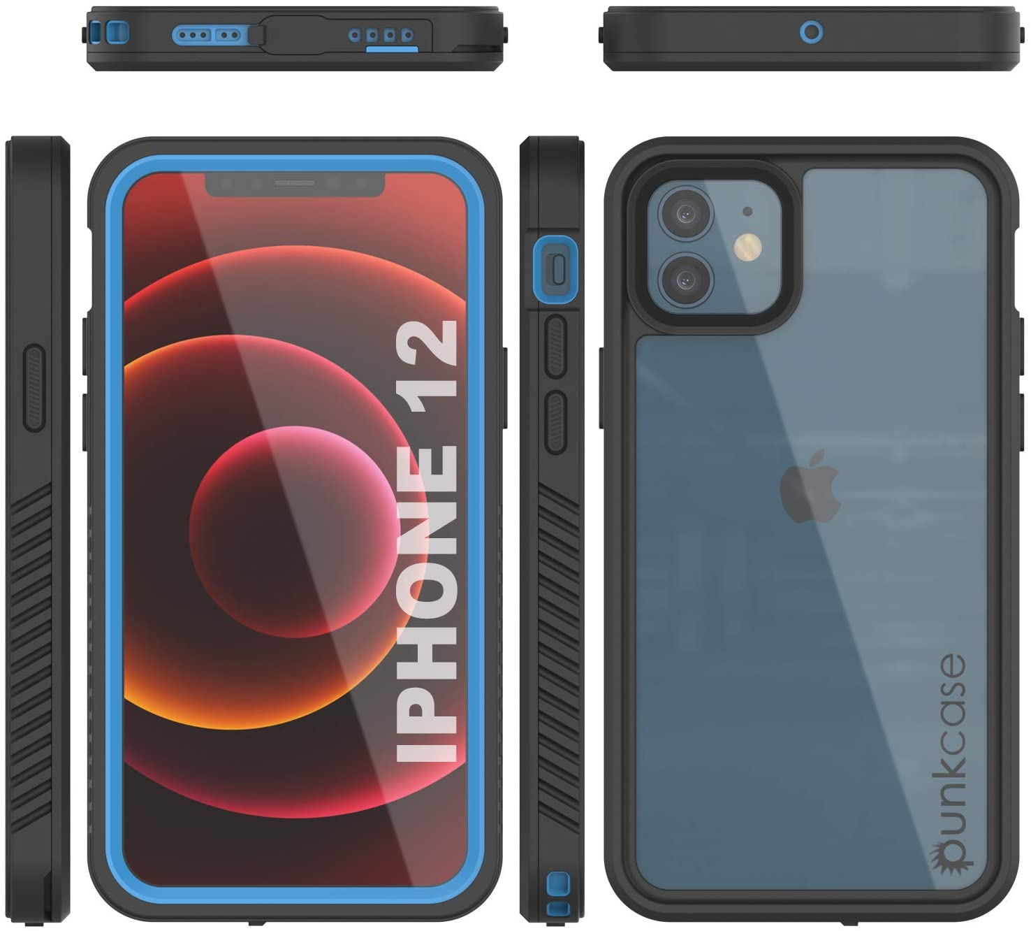 iPhone 12  Waterproof Case, Punkcase [Extreme Series] Armor Cover W/ Built In Screen Protector [Light Blue]