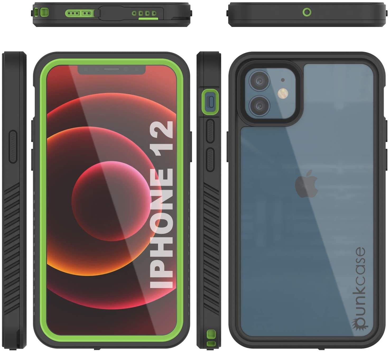 iPhone 12  Waterproof Case, Punkcase [Extreme Series] Armor Cover W/ Built In Screen Protector [Light Green]