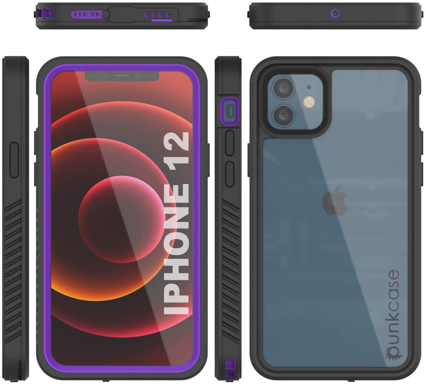 iPhone 12  Waterproof Case, Punkcase [Extreme Series] Armor Cover W/ Built In Screen Protector [Purple]