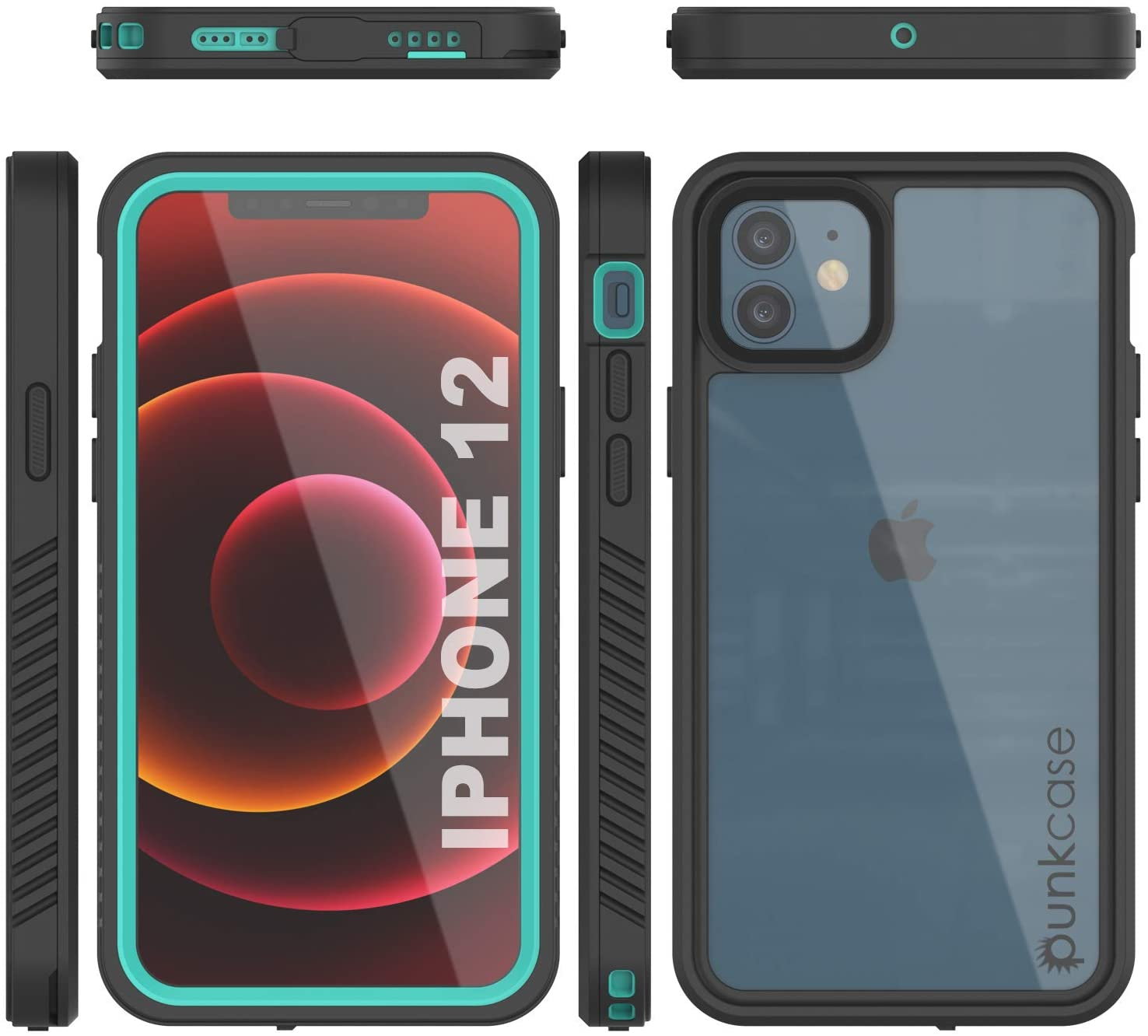 iPhone 12  Waterproof Case, Punkcase [Extreme Series] Armor Cover W/ Built In Screen Protector [Teal]