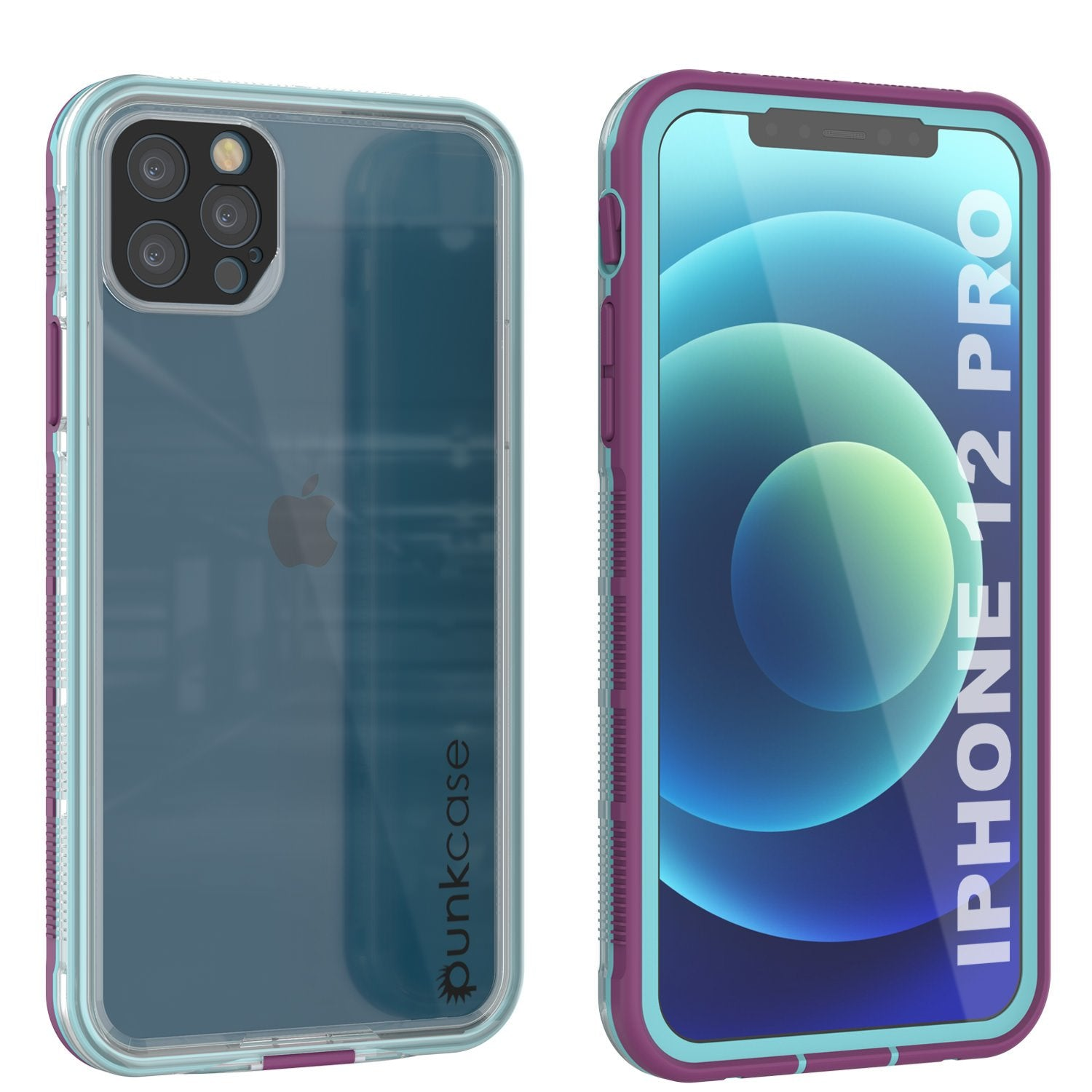 Punkcase iPhone 12 Pro Waterproof Case [Aqua Series] Armor Cover [Clear Purple] [Clear Back]