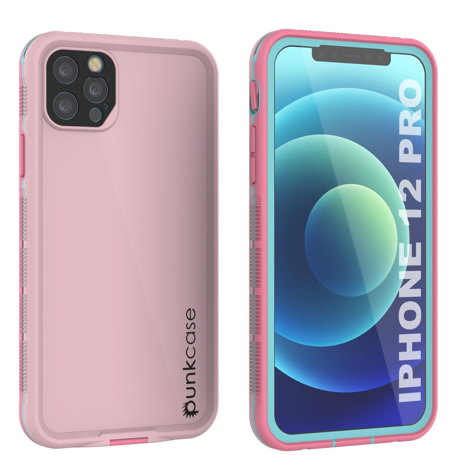Punkcase iPhone 12 Pro Waterproof Case [Aqua Series] Armor Cover [Pink]