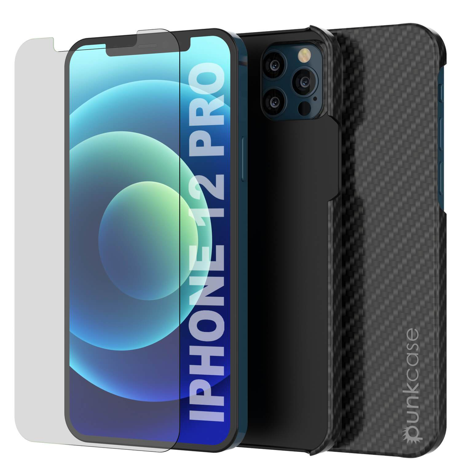iPhone 12 Pro Case, Punkcase CarbonShield, Heavy Duty & Ultra Thin 2 Piece Dual Layer [shockproof]