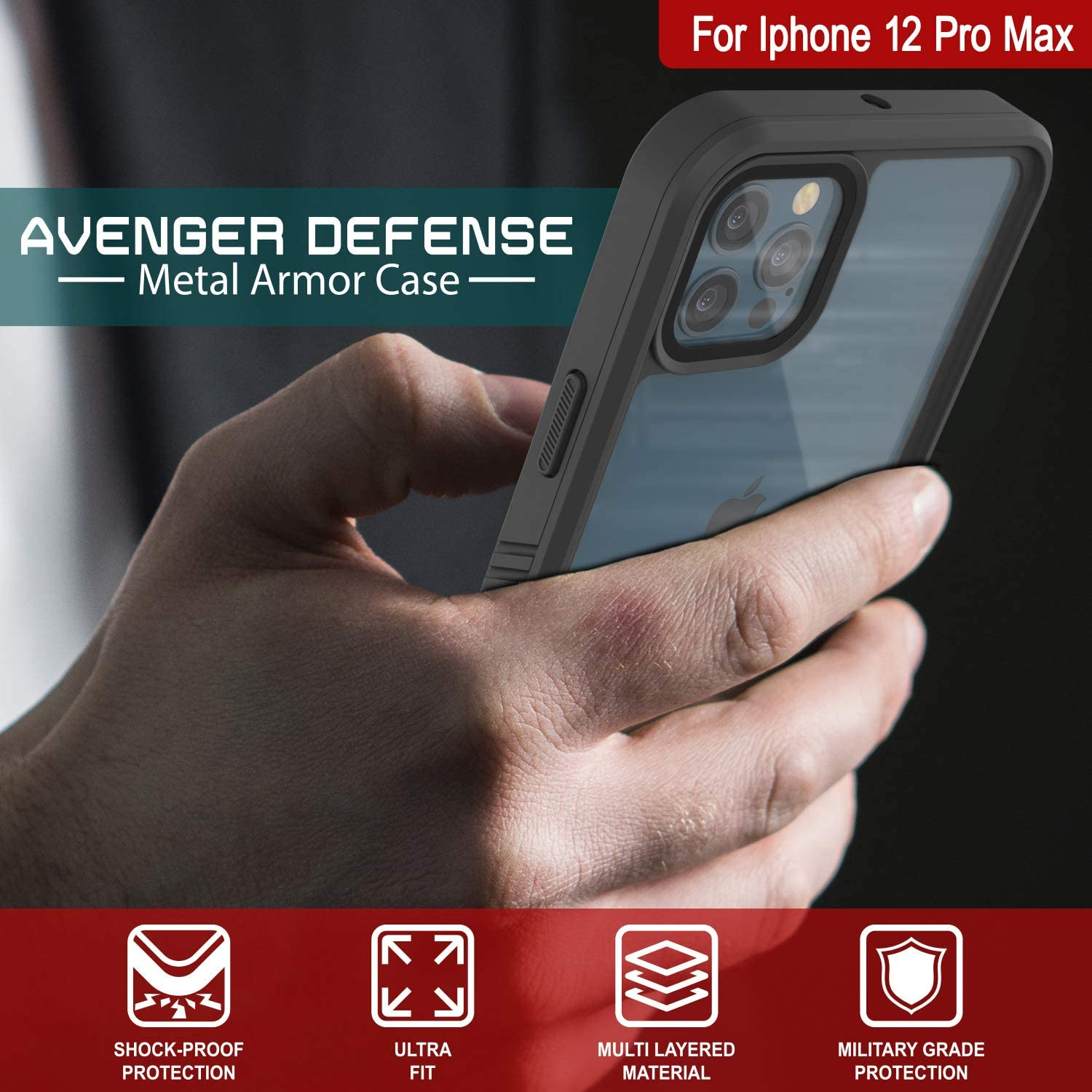iPhone 12 Pro Max Waterproof Case, Punkcase [Extreme Series] Armor Cover W/ Built In Screen Protector [Red]