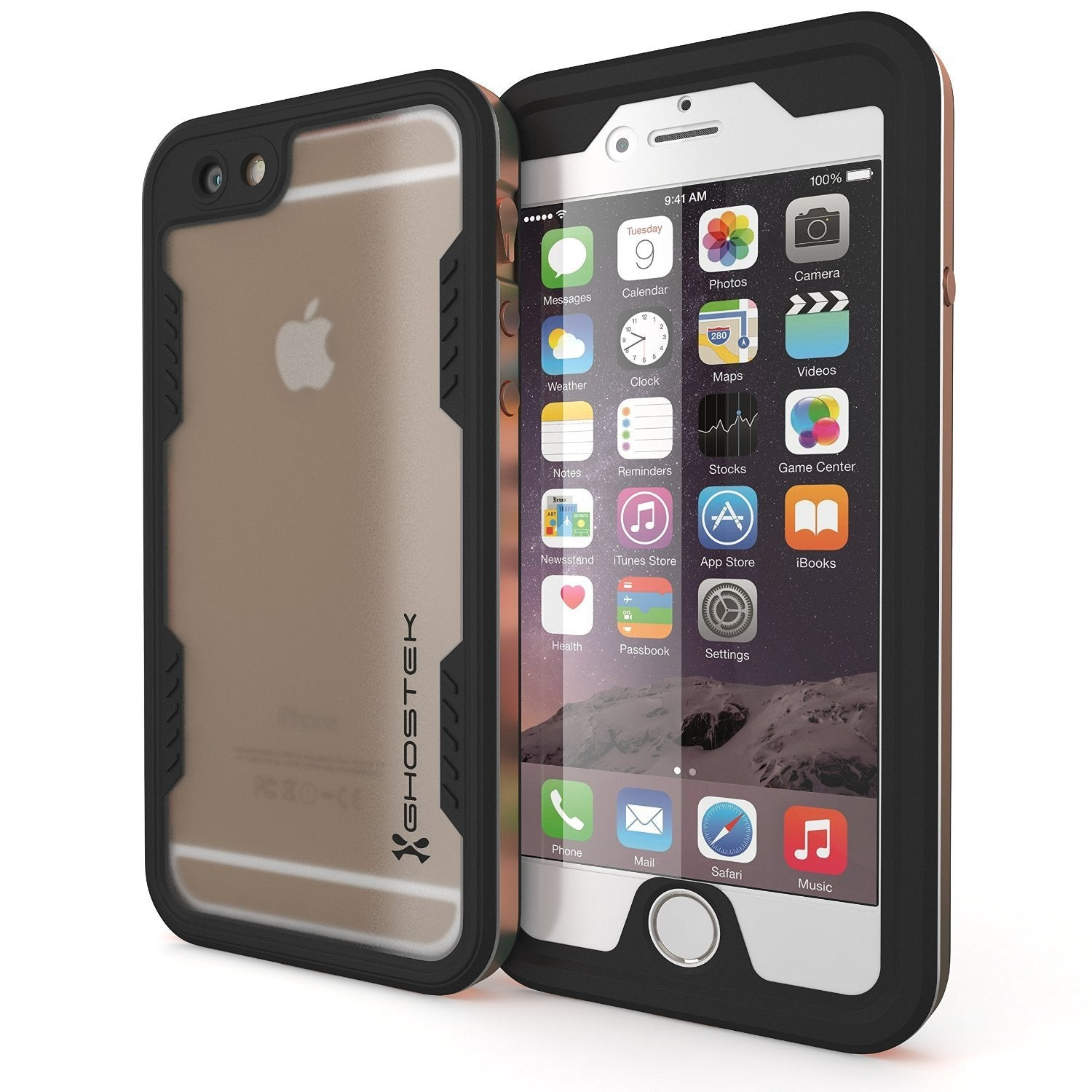 iPhone 6S+/6+ Plus Waterproof Case Ghostek Atomic 2.0 Gold w/ Attached Screen Protector | Slim - PunkCase NZ
