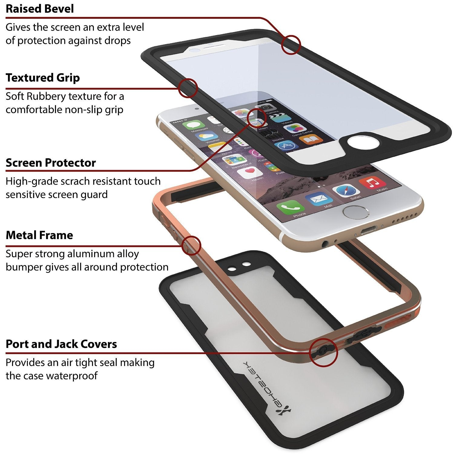 iPhone 6/6S Waterproof Case, Ghostek Atomic 2.0 Gold W/ Attached Screen Protector | Slim Fit - PunkCase NZ