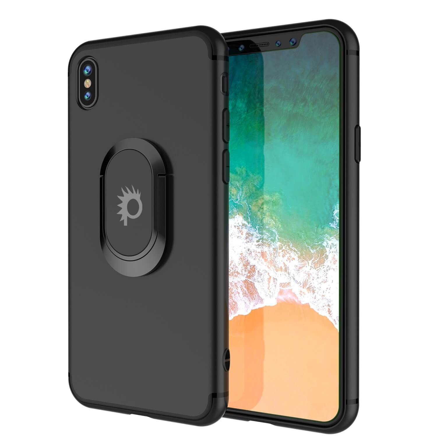 iPhone XS Case, Punkcase Magnetix Protective TPU Cover W/ Kickstand, Tempered Glass Screen Protector [Black]