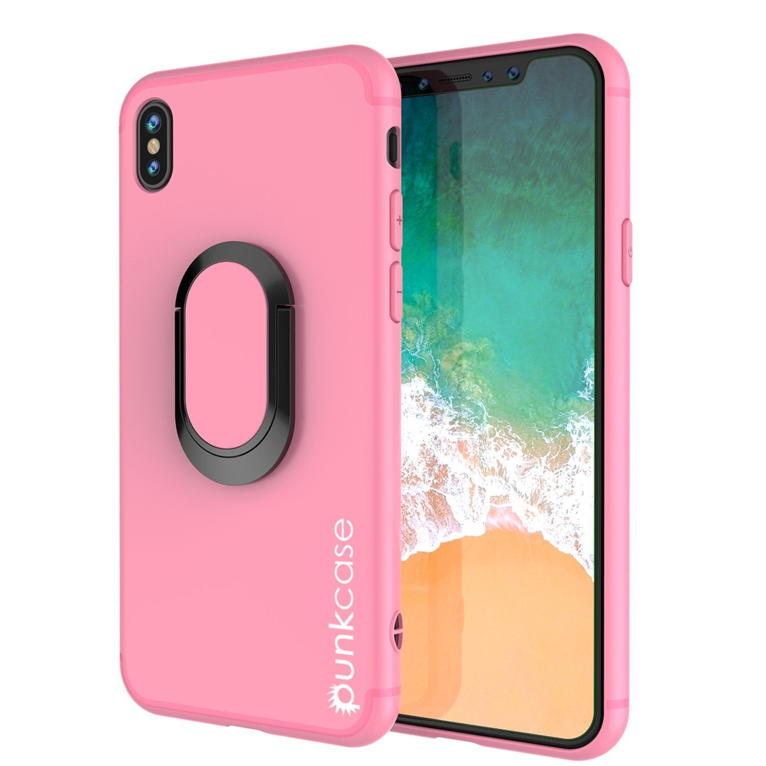 iPhone X Case, Punkcase Magnetix Protective TPU Cover W/ Kickstand, Tempered Glass Screen Protector [Pink]