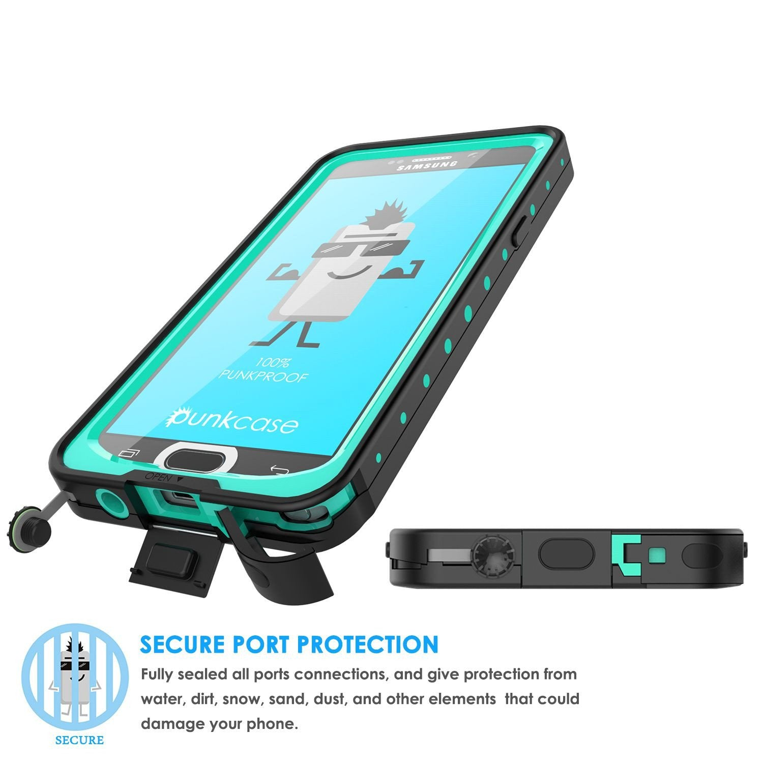 Galaxy Note 5 Waterproof Case, Punkcase StudStar Teal Shock/Dirt/Snow Proof | Lifetime Warranty - PunkCase NZ