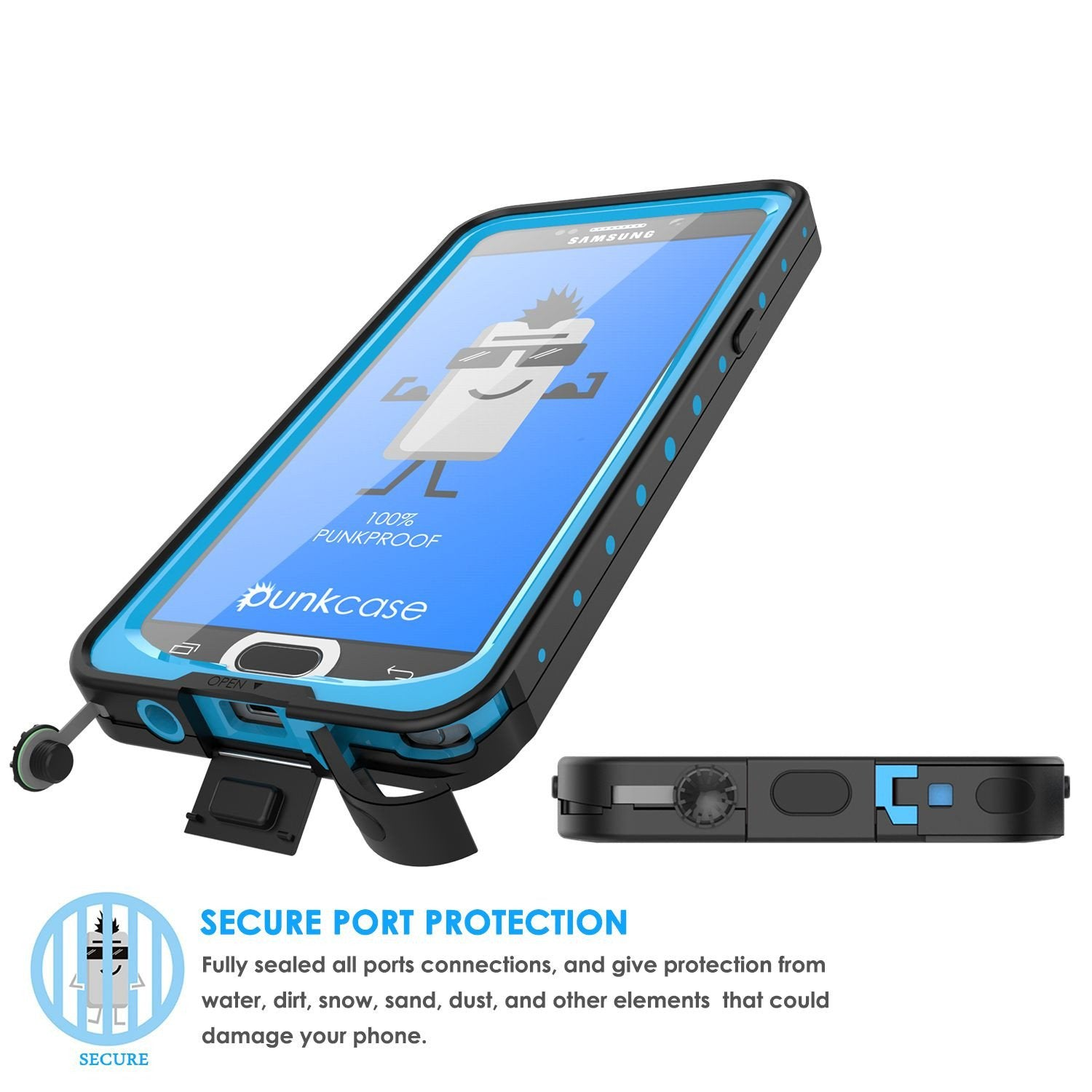 Galaxy Note 5 Waterproof Case, Punkcase StudStar Light Blue Shock/Dirt Proof | Lifetime Warranty - PunkCase NZ