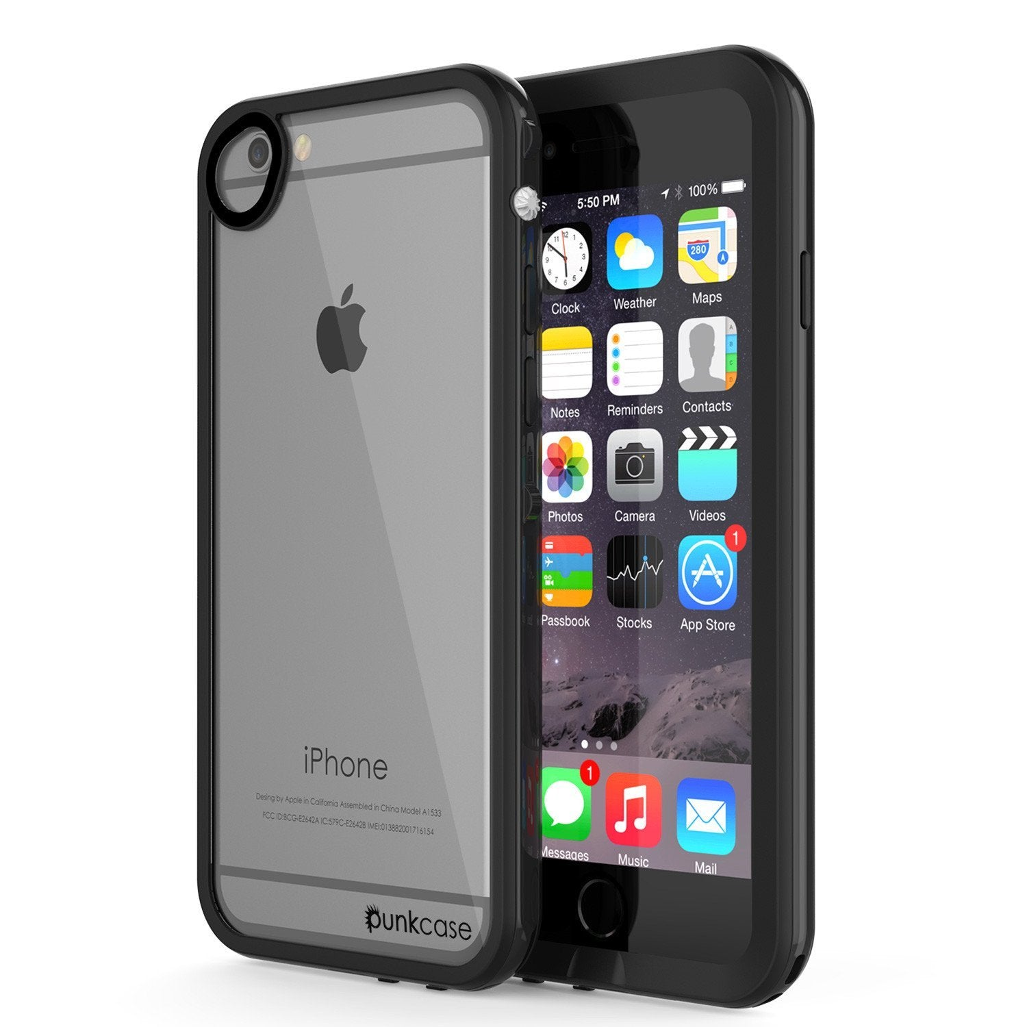 Apple iPhone 8 Waterproof Case, PUNKcase CRYSTAL 2.0 Black W/ Attached Screen Protector  | Warranty - PunkCase NZ