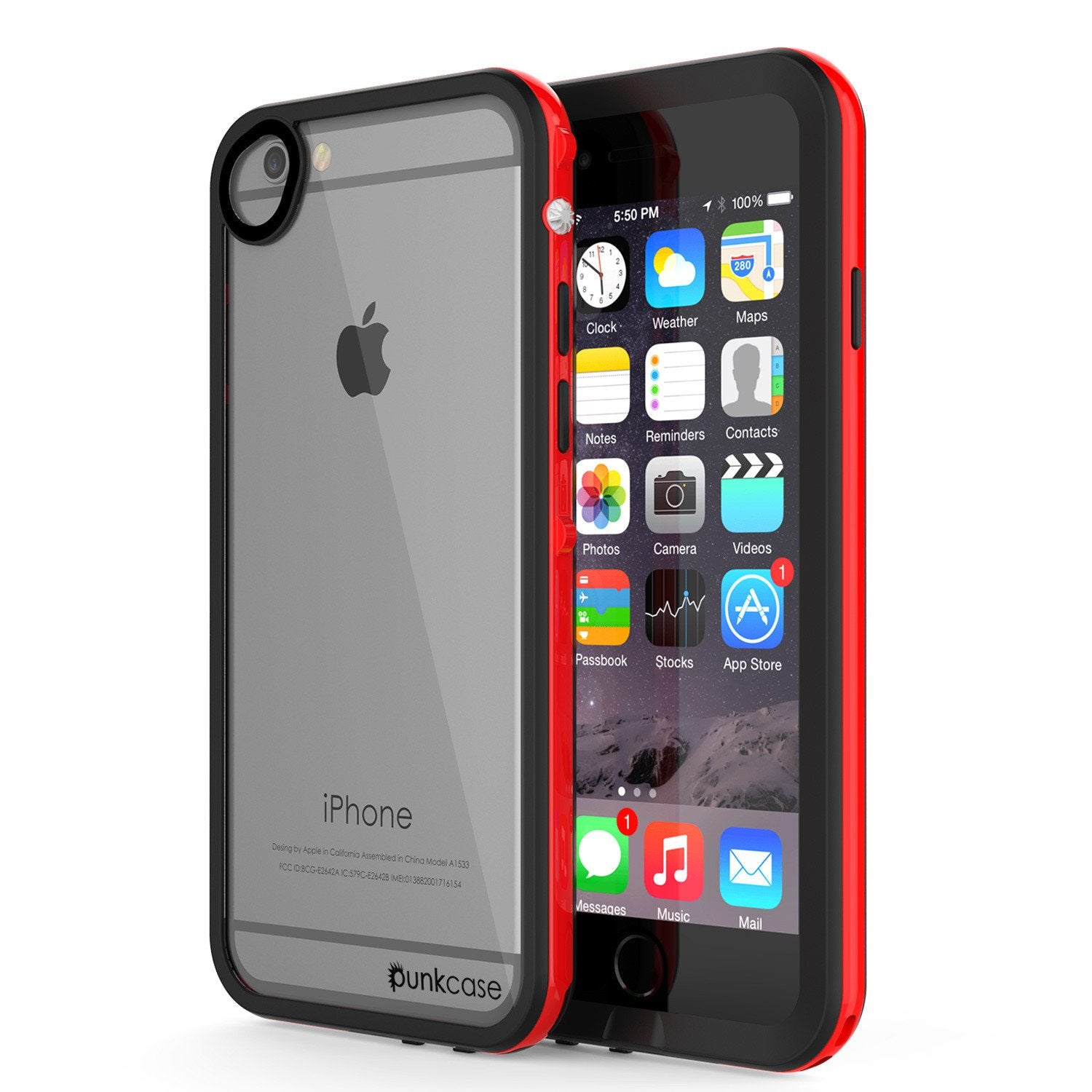 Apple iPhone 7 Waterproof Case, PUNKcase CRYSTAL 2.0 Red W/ Attached Screen Protector  | Warranty - PunkCase NZ