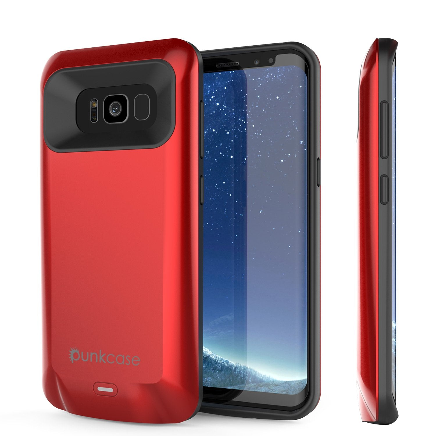 Galaxy S8 PLUS Battery Case, Punkcase 5500mAH Charger Case W/ Screen Protector | Integrated Kickstand & USB Port | IntelSwitch [Red]