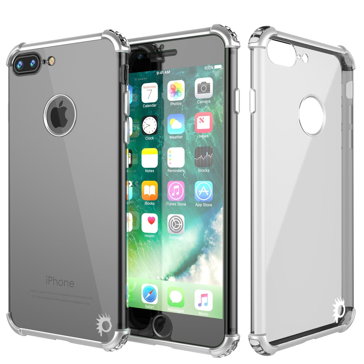 iPhone 7 PLUS Case, Punkcase [BLAZE SERIES] Protective Cover W/ PunkShield Screen Protector [Shockproof] [Slim Fit] for Apple iPhone 7 PLUS [Silver]