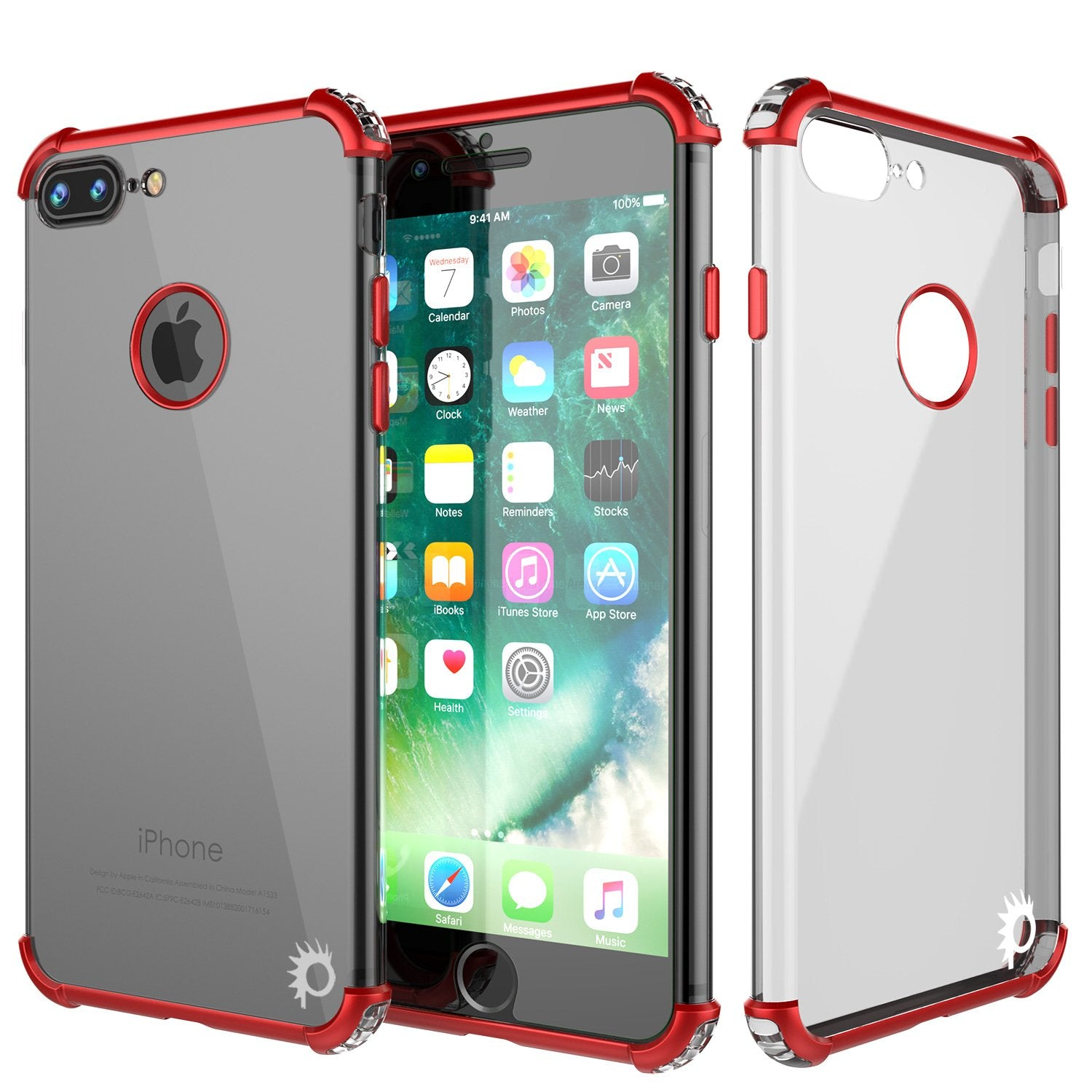 iPhone 7 PLUS Case, Punkcase [BLAZE SERIES] Protective Cover W/ PunkShield Screen Protector [Shockproof] [Slim Fit] for Apple iPhone 7 PLUS [Red]