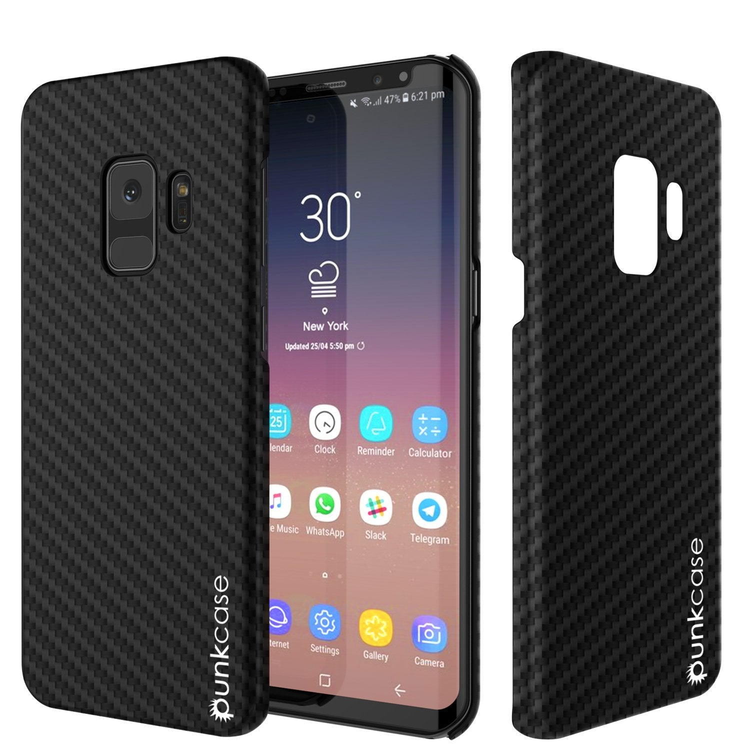 Galaxy S9 Case, Punkcase CarbonShield, Heavy Duty & Ultra Thin 2 Piece Dual Layer PU Leather Cover [shockproof][non slip] with PUNKSHIELD Screen Protector for Samsung S9 [jet black]