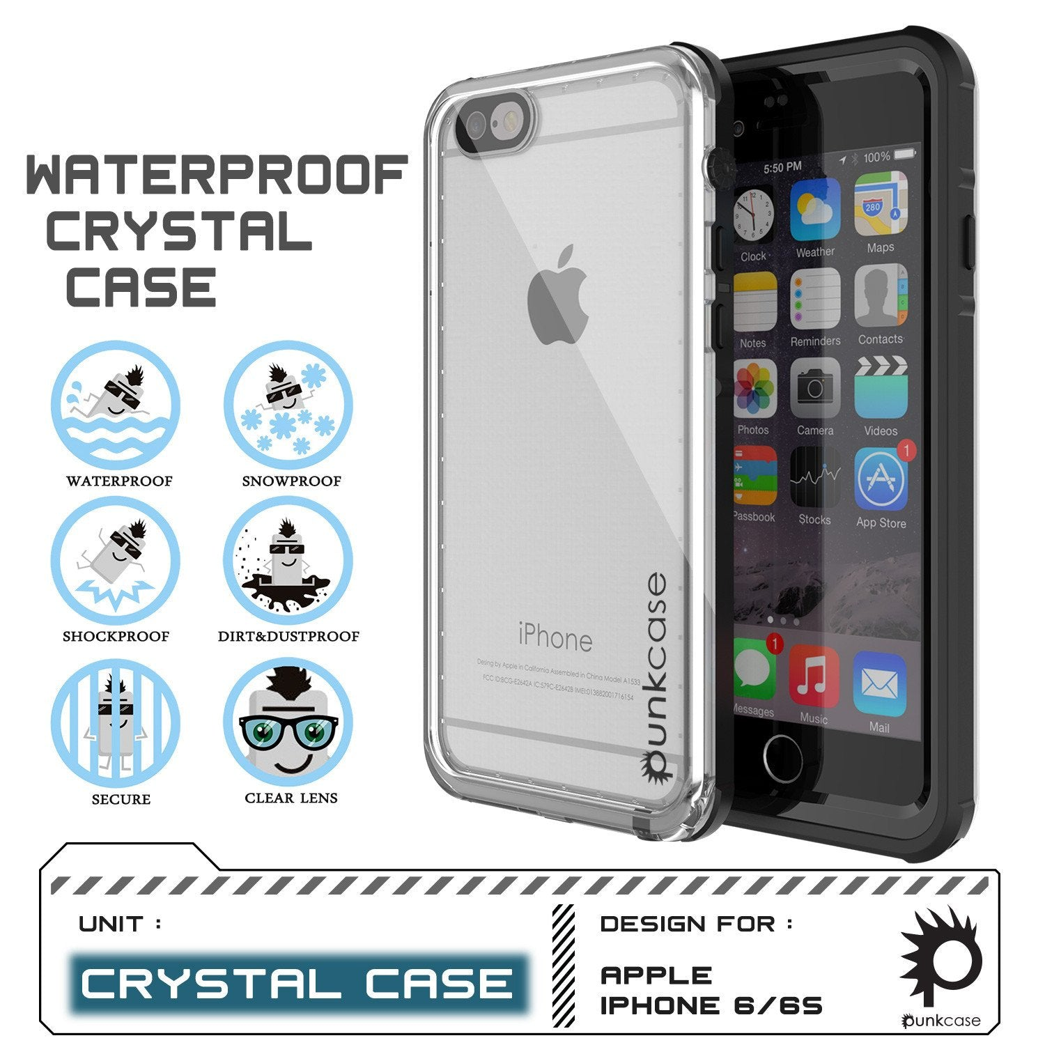 iPhone 6+/6S+ Plus Waterproof Case, PUNKcase CRYSTAL Black W/ Attached Screen Protector | Warranty - PunkCase NZ