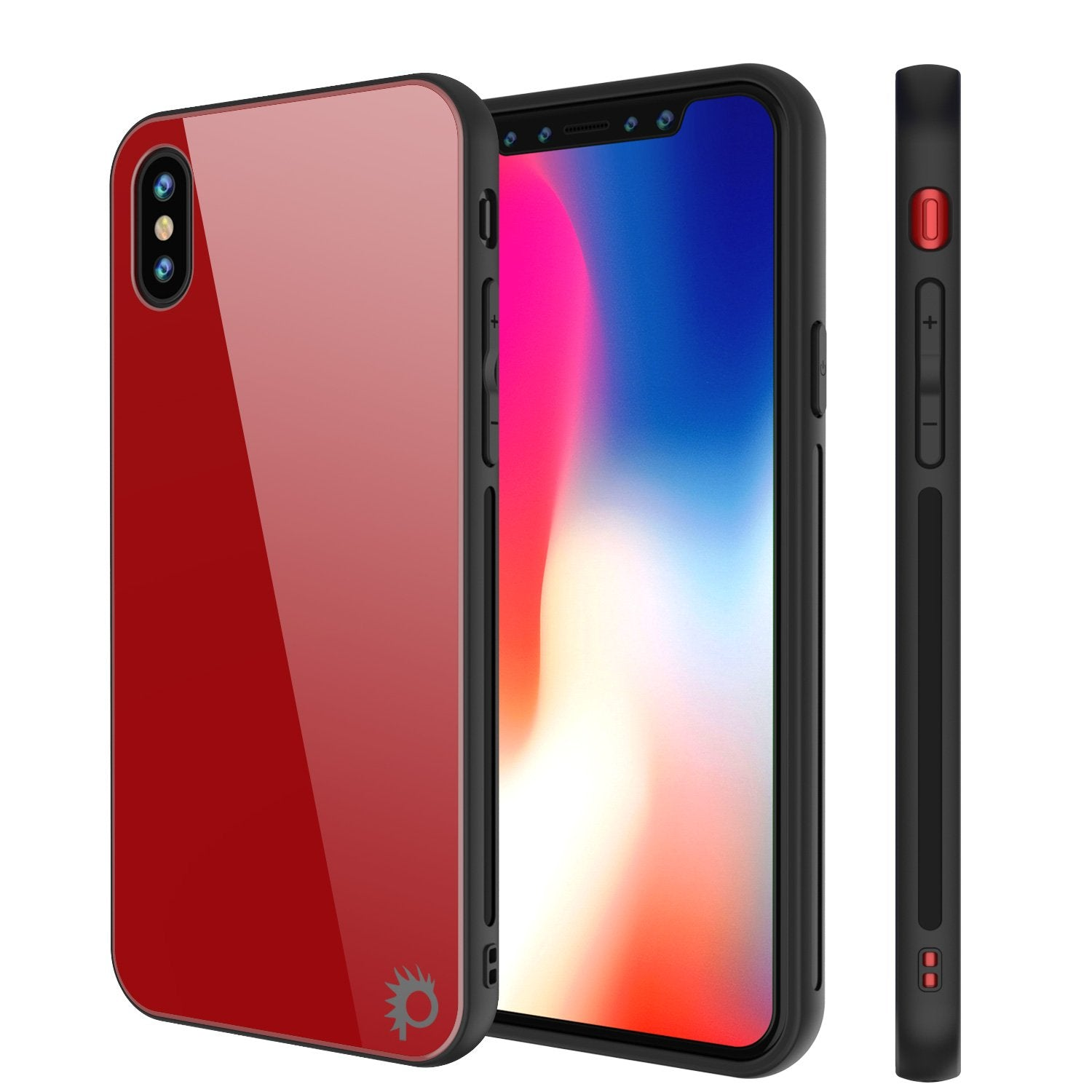 iPhone X Case, Punkcase GlassShield Ultra Thin Protective 9H Full Body Tempered Glass Cover W/ Drop Protection & Non Slip Grip for Apple iPhone 10 [Red]