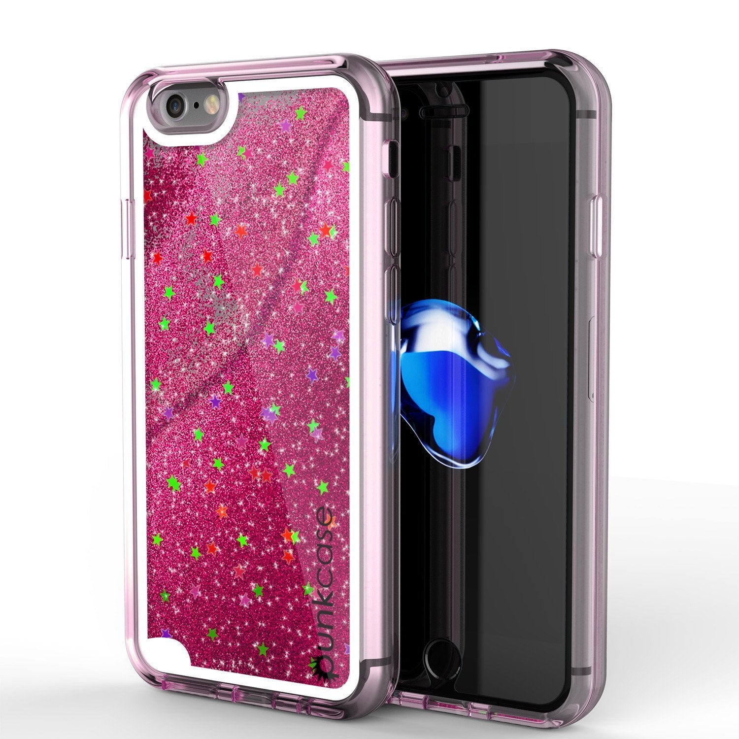 iPhone 8 Case, PunkCase LIQUID Pink Series, Protective Dual Layer Floating Glitter Cover