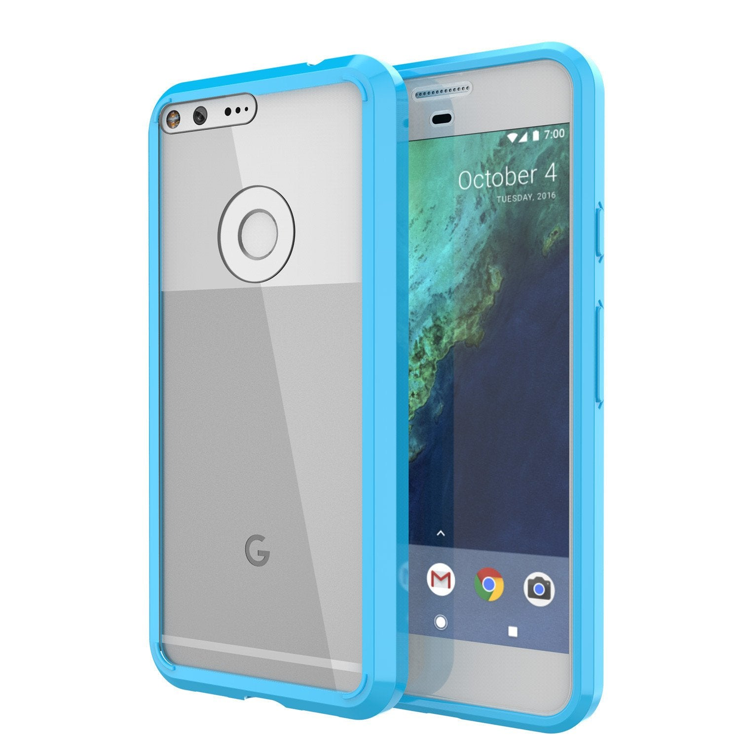 Google Pixel XL Case Punkcase® LUCID 2.0 Light Blue Series w/ PUNK SHIELD Glass Screen Protector | Ultra Fit