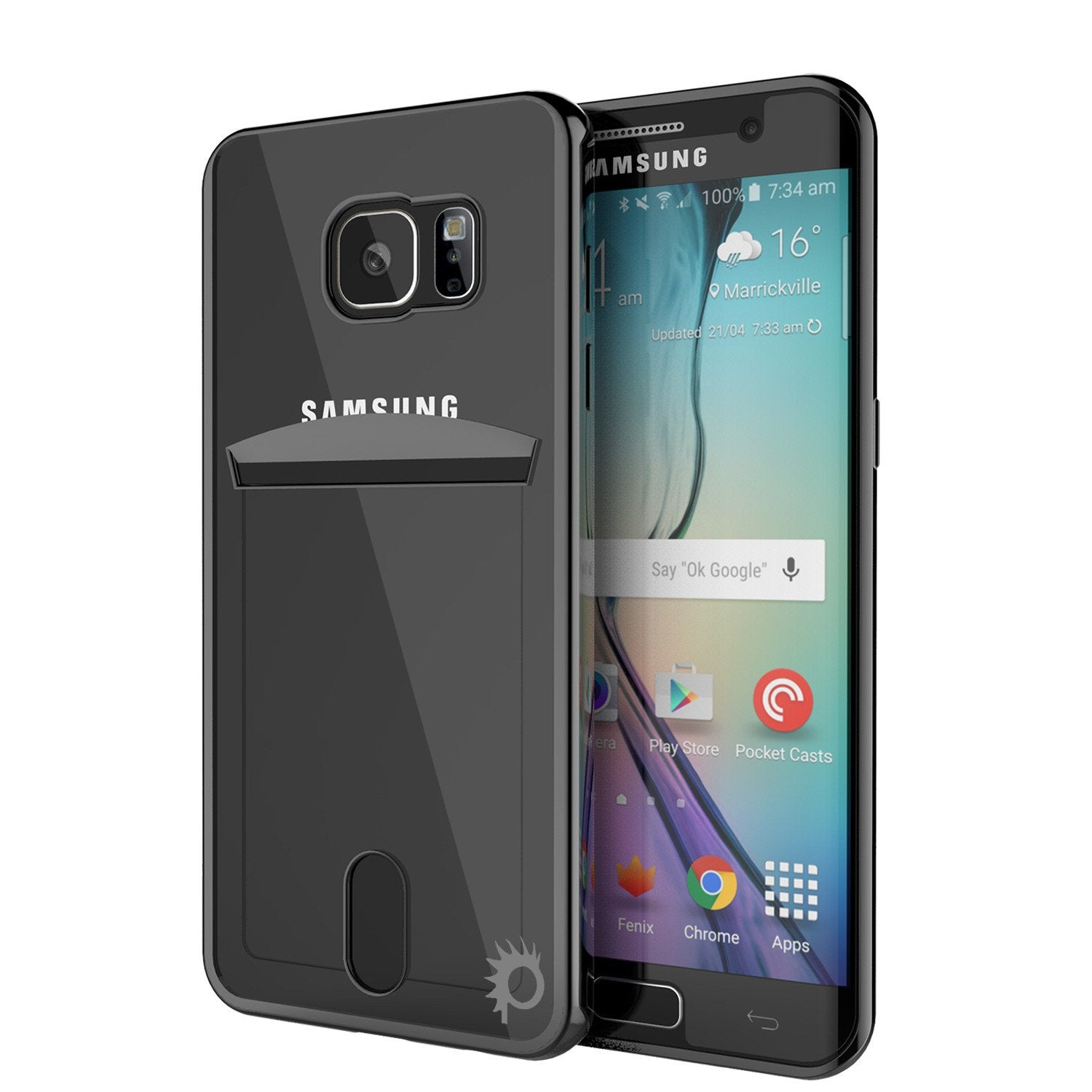 Galaxy S6 EDGE+ Plus Case, PUNKCASE® LUCID Black Series | Card Slot | SHIELD Screen Protector - PunkCase NZ