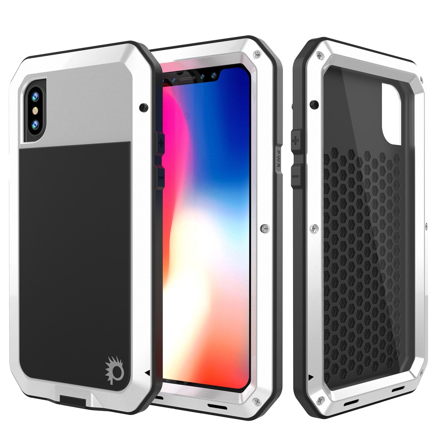 iPhone X Metal Case, Heavy Duty Military Grade Rugged White Armor Cover [shock proof] Hybrid Full Body Hard Aluminum & TPU Design