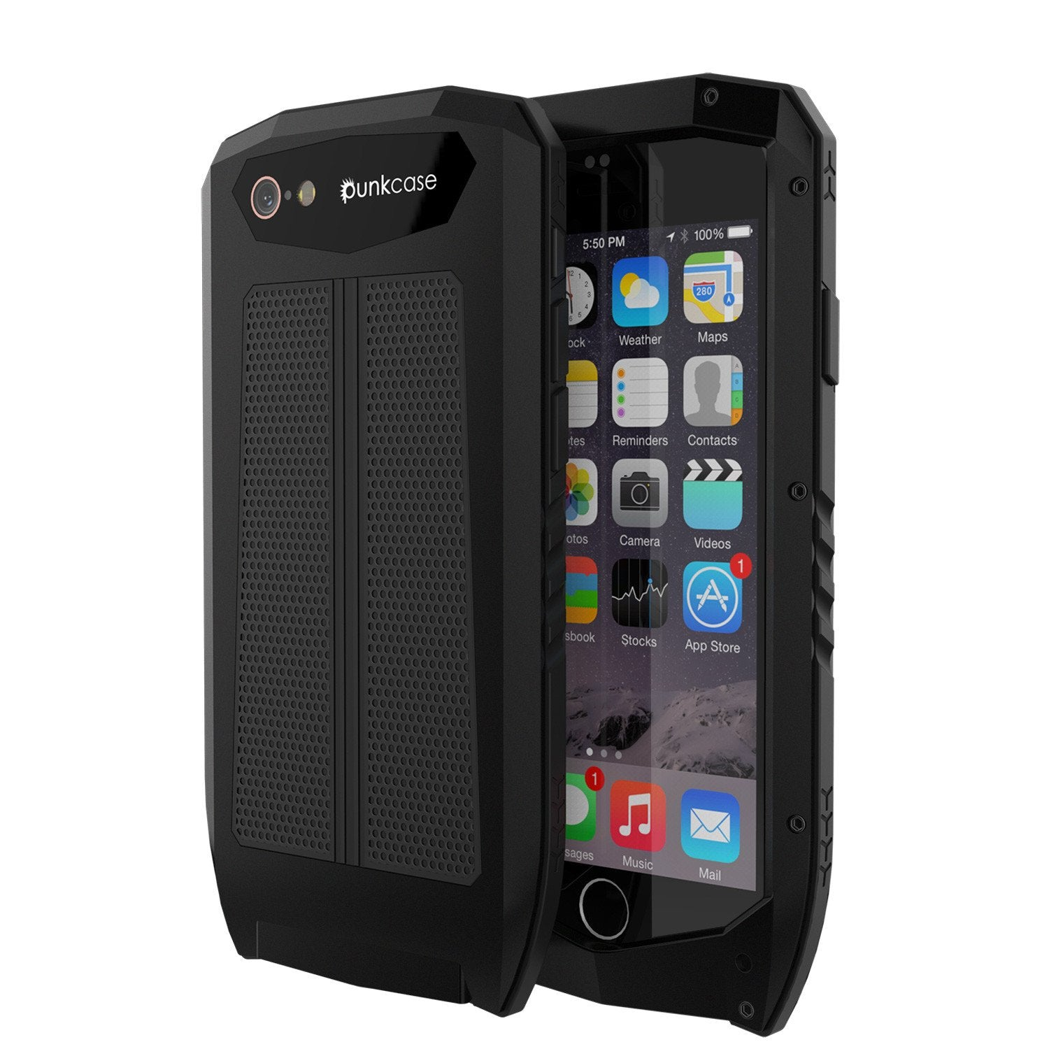 iPhone 6s/6 Case, Punkcase Metallic PRO Black Series Cover W/ Attached Screen Protector | Touch-ID