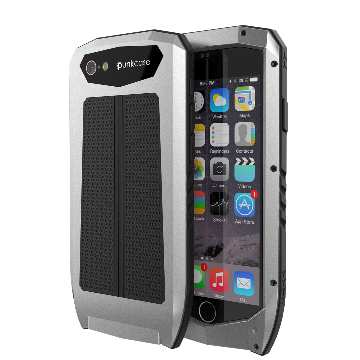iPhone 6s/6 Case, Punkcase Metallic PRO Silver Series Cover W/ Attached Screen Protector | Touch-ID