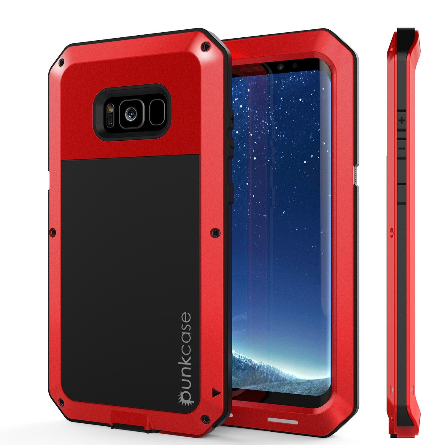 Galaxy S8  Case, PUNKcase Metallic Red Shockproof  Slim Metal Armor Case