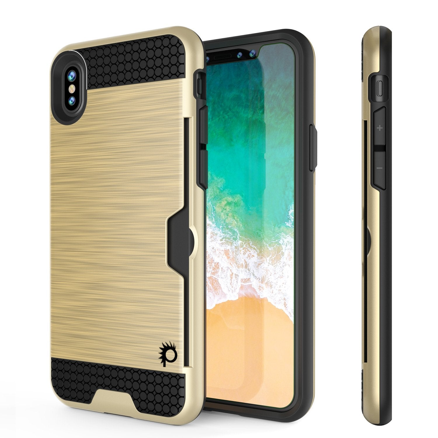 iPhone X Case, PUNKcase [SLOT Series] Slim Fit Dual-Layer Armor Cover & Tempered Glass PUNKSHIELD Screen Protector for Apple iPhone X [Gold]