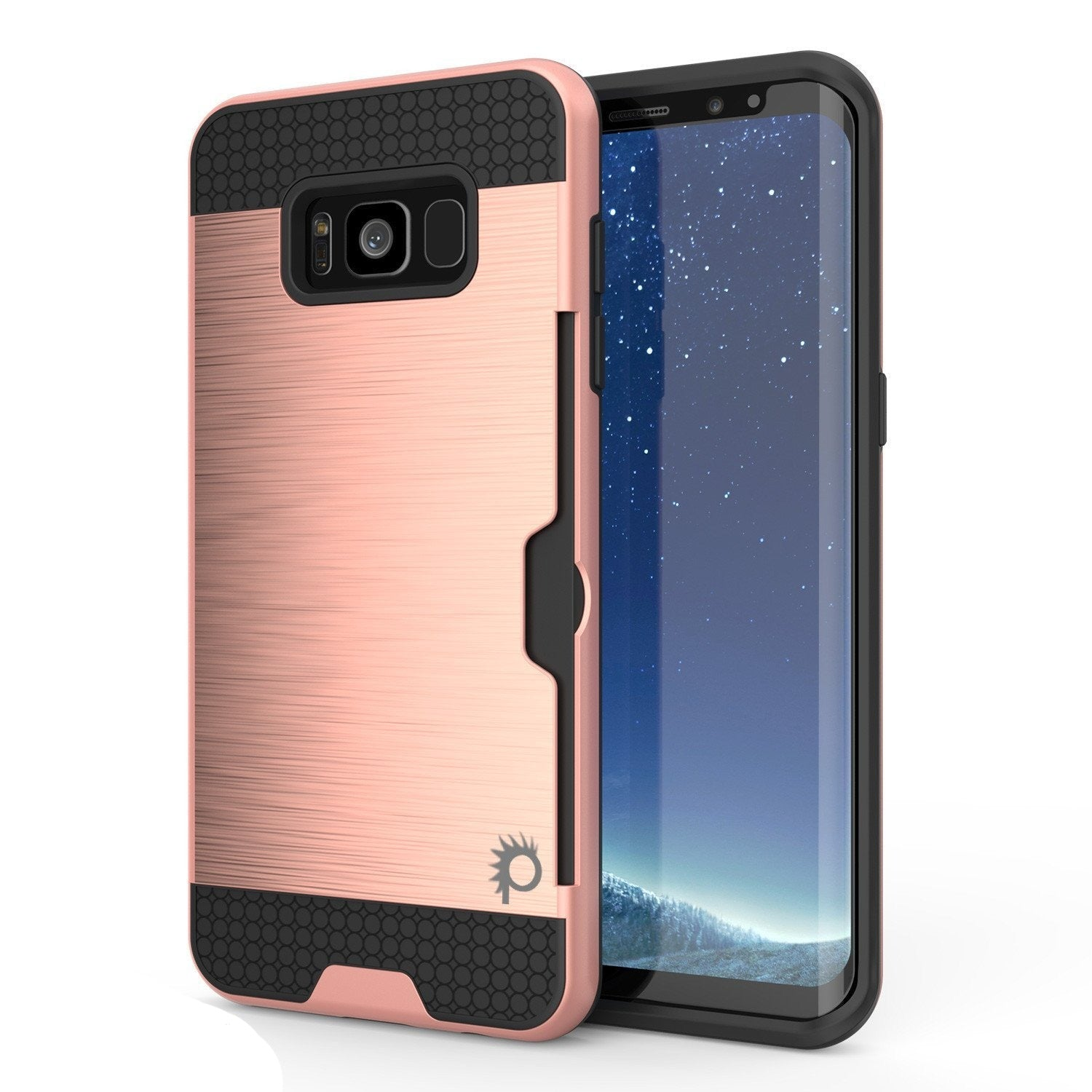 Galaxy S8 Case, PUNKcase [SLOT Series] [Slim Fit] Dual-Layer Armor Cover w/Integrated Anti-Shock System, Credit Card Slot & PUNKSHIELD Screen Protector for Samsung Galaxy S8[Rose Gold]