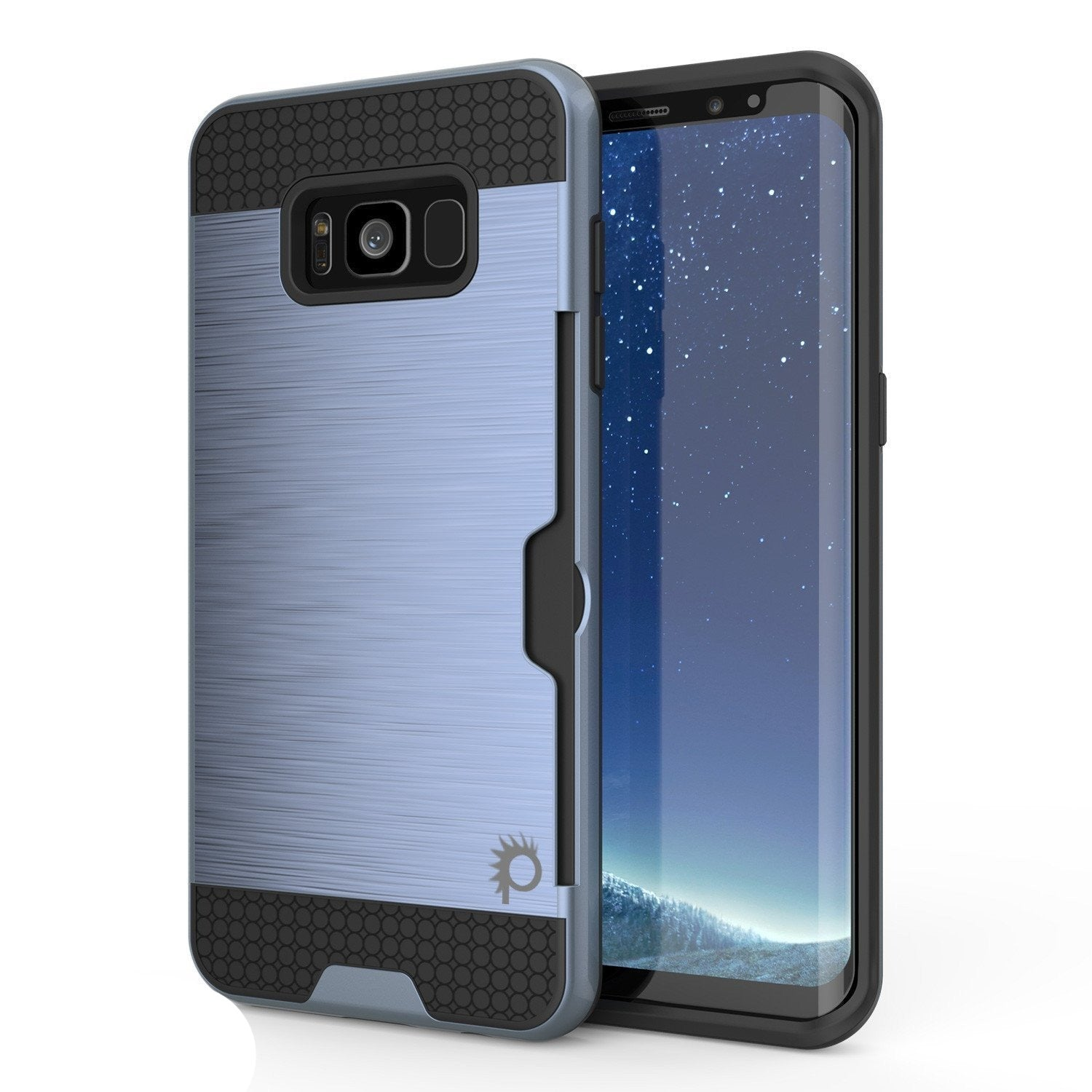 Galaxy S8 Case, PUNKcase [SLOT Series] [Slim Fit] Dual-Layer Armor Cover w/Integrated Anti-Shock System, Credit Card Slot & PUNKSHIELD Screen Protector for Samsung Galaxy S8[Navy]