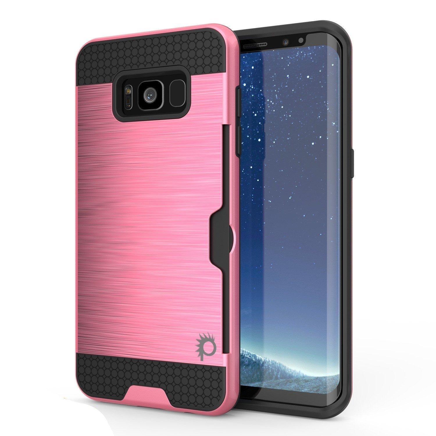 Galaxy S8 Case, PUNKcase [SLOT Series] [Slim Fit] Dual-Layer Armor Cover w/Integrated Anti-Shock System, Credit Card Slot & PUNKSHIELD Screen Protector for Samsung Galaxy S8 [Pink]
