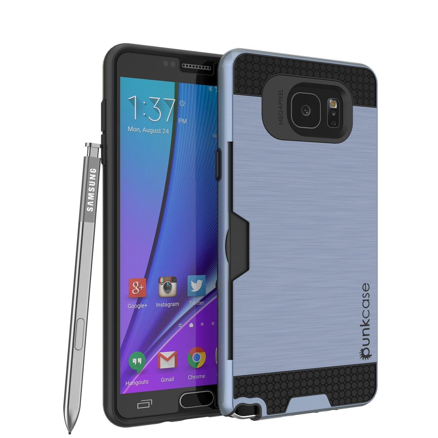 Galaxy Note 5 Case PunkCase SLOT Navy Series Slim Armor Soft Cover Case w/ Tempered Glass