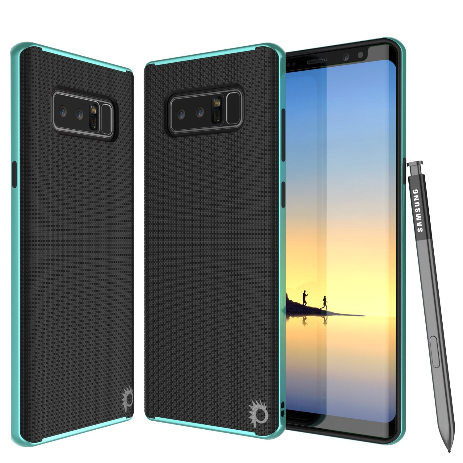 Galaxy Note 8 Case, PunkCase [Stealth Series] Hybrid 3-Piece Shockproof Dual Layer Cover [Non-Slip] [Soft TPU + PC Bumper] with PUNKSHIELD Screen Protector for Samsung Note 8 [Teal]